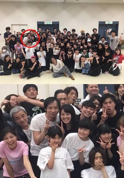いしだ壱成と飯村貴子の舞台稽古での2ショット