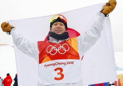 平昌オリンピックで銀メダルを獲得した時の平野歩夢