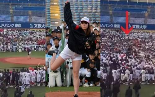 2018年3月10日の始球式での稲村亜美